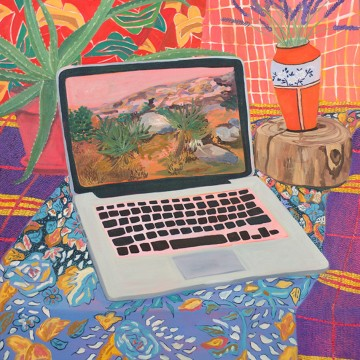 Anna Valdez, Laptop with Landscape, 2014. Oil on canvas, 32 x 30 inches. Courtesy of the artist and Hashimoto Contemporary.