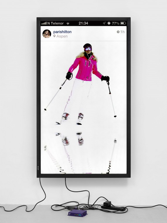 Cory Arcangel, Snowbunny / Lakes, 2015. 1920×1080 H.264/MPEG-4 Part 10 looped digital file (from 11 lossless TIF masters), media player, 70 inch flatscreen, armature, various cables. Courtesy of Whitechapel Gallery.
