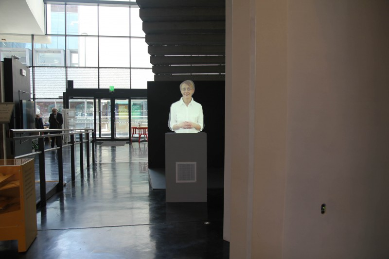 James Bridle, Homo Sacer, 2014. Digital video, perspex, rear projection 7:05, dimensions variable. Courtesy of Whitechapel Gallery.