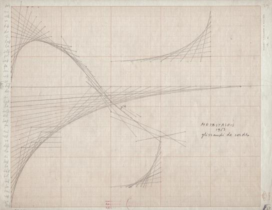 Iannis Xenakis, Graphic score for Metastasis, glissandi of chords, 1954. Graphite on graph paper, 8 ½ x 10 ⅞ inches.  Included in the inaugural exhibition Architecture of Life at the new BAMPFA, now on view through May 29. Courtesy of the Xenakis family (Paris) and BAMPFA.