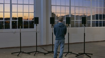 Janet Cardiff, The Forty Part Motet (installation view, Gallery 308, Fort Mason Center for Arts & Culture), 2015; co-presented by Fort Mason Center for Arts & Culture and the San Francisco Museum of Modern Art; photo: JKA Photography