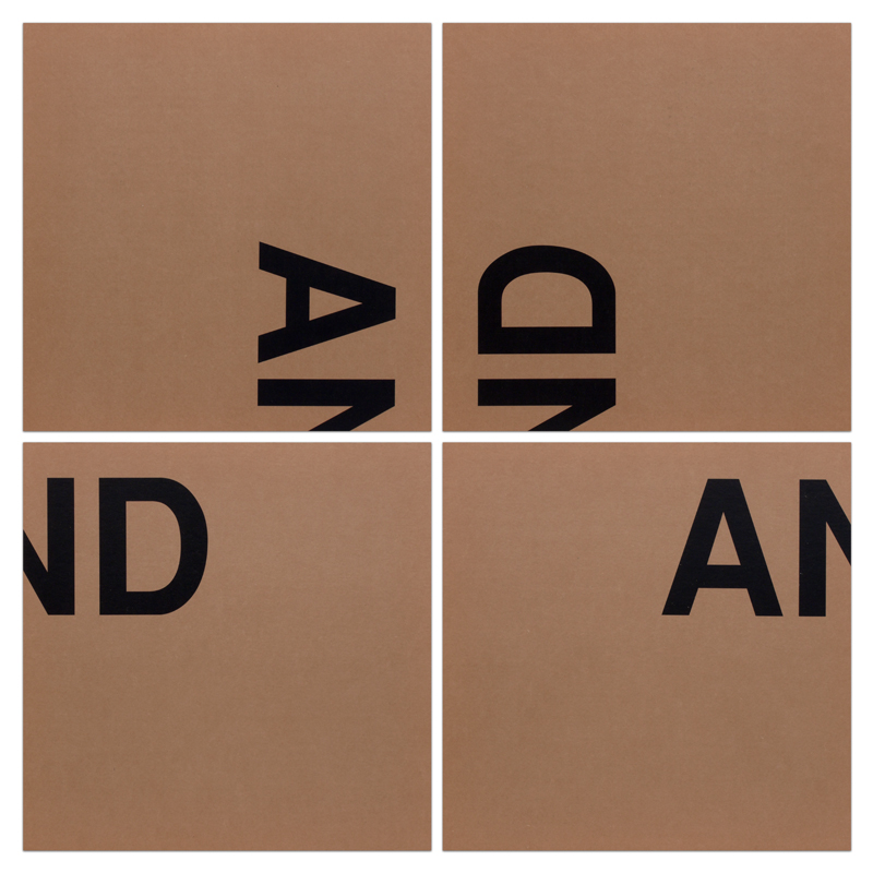 Peter Downsbrough, AND, 1991. Silkscreen on cardboard in four parts Image/paper size: 17.75 x 17.75 inches each. Overall size: 36 x 36 inches. Edition of 5. Signed, numbered and dated on accompanied certificate. Courtesy of Barbara Krakow Gallery.
