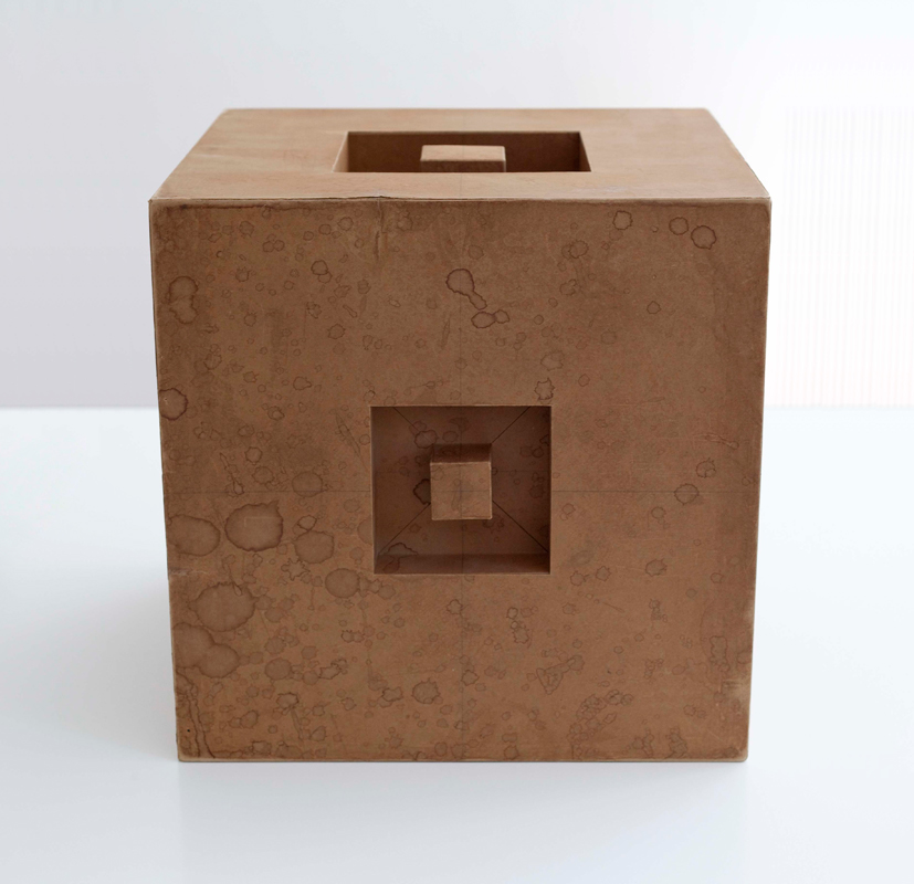 Erwin Heerich, Untitled (cardboard sculpture), 1967. Cardboard, 15.75 x 15.75 x 15.75 inches. Courtesy of Barbara Krakow Gallery.
