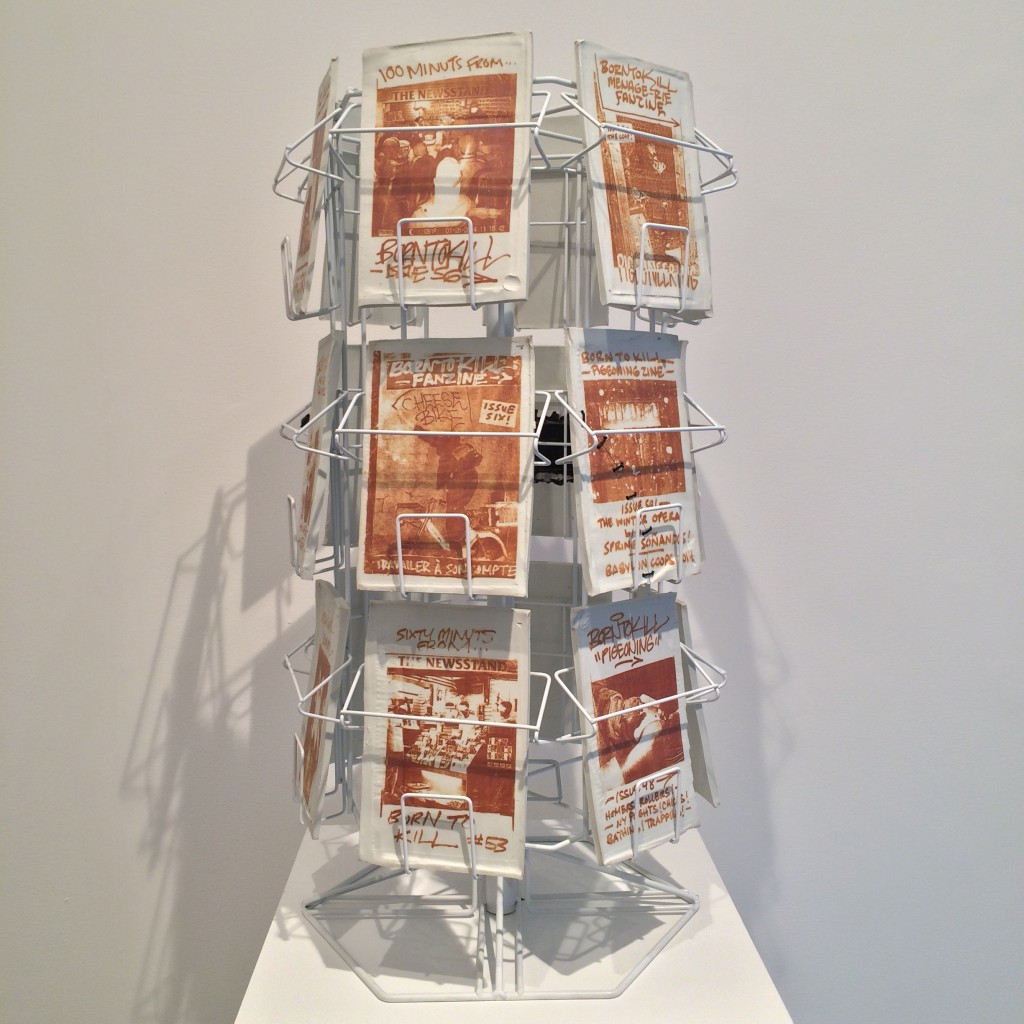 Pat McCarthy, Born to Kill Carousel, 2016. Photocopy toner fired on porcelain and steel. 30 x 18 x 18 inches.