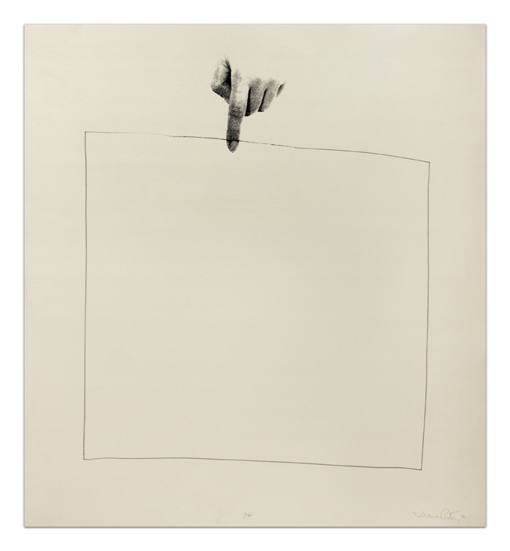 Liliana Porter, Untitled, 1973. Silkscreen and graphite on paper with deckled edge, Image/paper size: 26 x 24 inches. Edition 15 of 60, never completed. Signed and dated lower right and numbered lower center in pencil. Courtesy of Barbara Krakow Gallery.