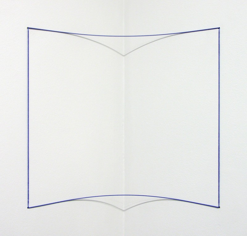 """Fred Sandback, Blue Day-glo Corner Piece, 1968/2004. 1/32"""" Elastic Cord & Spring Steel, 14 x 12 x 6 inches. Accompanied by certificate of authenticity. Edition of 25. Courtesy of Barbara Krakow Gallery."""