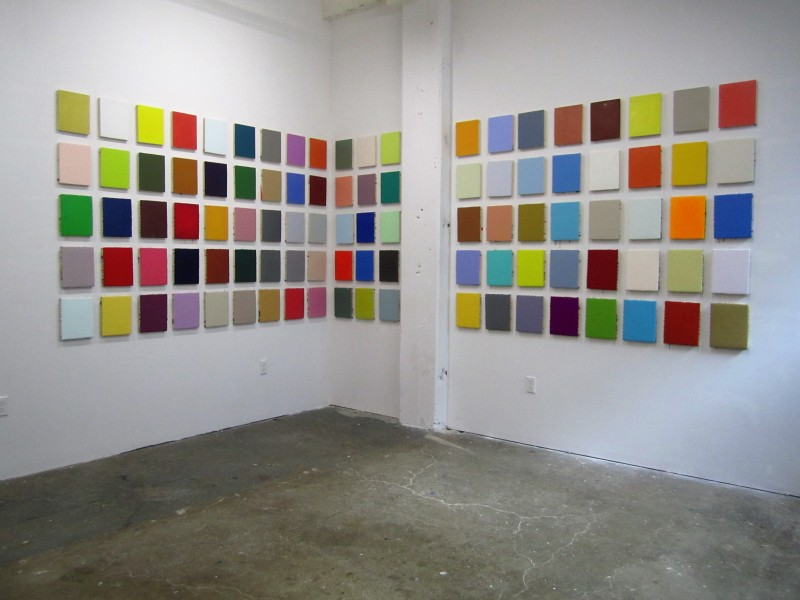 "Leah Rosenberg, 100 Days of Color (from #CHROMAHA), 2015. Acrylic paint, 100 panels, 10"" x 8"" each, installation, 62"" x 233."" Courtesy of the artist and Black and White Projects. Photo: LLutz"