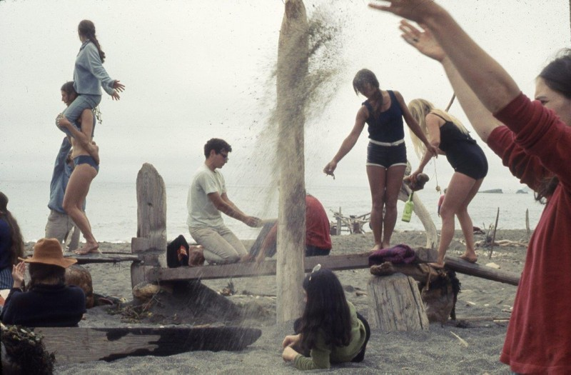 """Driftwood City,"" Sea Ranch, CA. Experiments in Environment Workshop, July 4, 1966. Courtesy Lawrence Halprin Collection, The Architectural Archives, University of Pennsylvania"