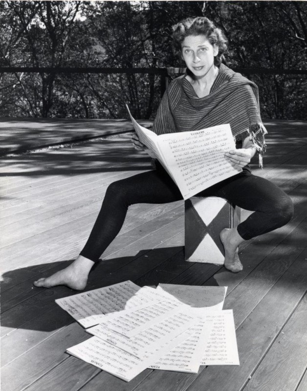 Anna Halprin on Dance Deck. Milton Halberstadt, photographer. Circa 1940s-1950s. Reproduced from a gelatin silver print, Courtesy of the Museum of Performance + Design.