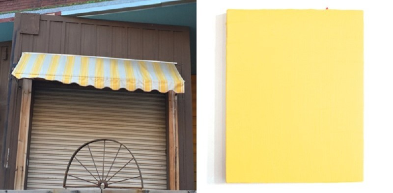 "Leah Rosenberg, 100 Days of Color (from #CHROMAHA), 2015. ""Day 18// The antique candy stop's yellow striped canopy,"" poem, documentation and coinciding color. Courtesy of the artist"