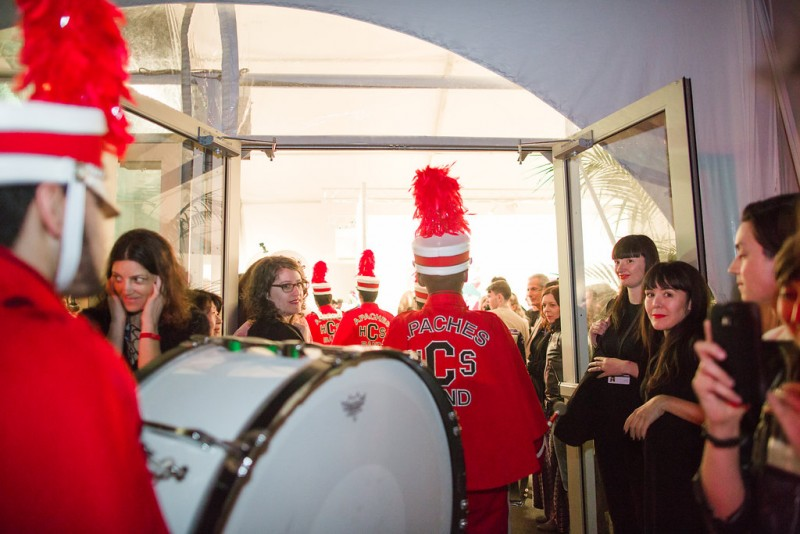 Alison O'Daniel, Centennial Marching Band Forwards, Backwards, Pause, Silent, Centennial High School Marching Band performing for Art Los Angeles Contemporary opening night, January 28, 2016. Courtesy Gina Clyne/Art Los Angeles Contemporary