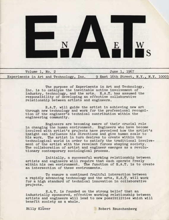 Experiments in Art and Technology, (E.A.T.) E.A.T. News. Volume 1, 1967. Courtesy of Whitechapel Gallery.