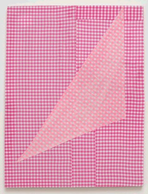 Cheryl Donegan, Untitled (two rose ginghams), 2012. Fabric on medium-density fiberboard, 20 x 26 in (50.8 x 66 cm). Courtesy the artist and David Shelton Gallery, Houston