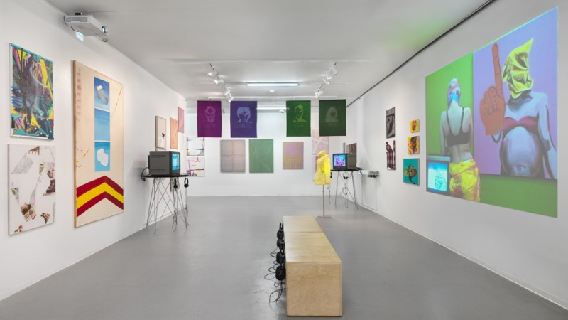 Cheryl Donegan, Scenes + Commercials, Installation view, 2016. Courtesy the artist and New Museum.