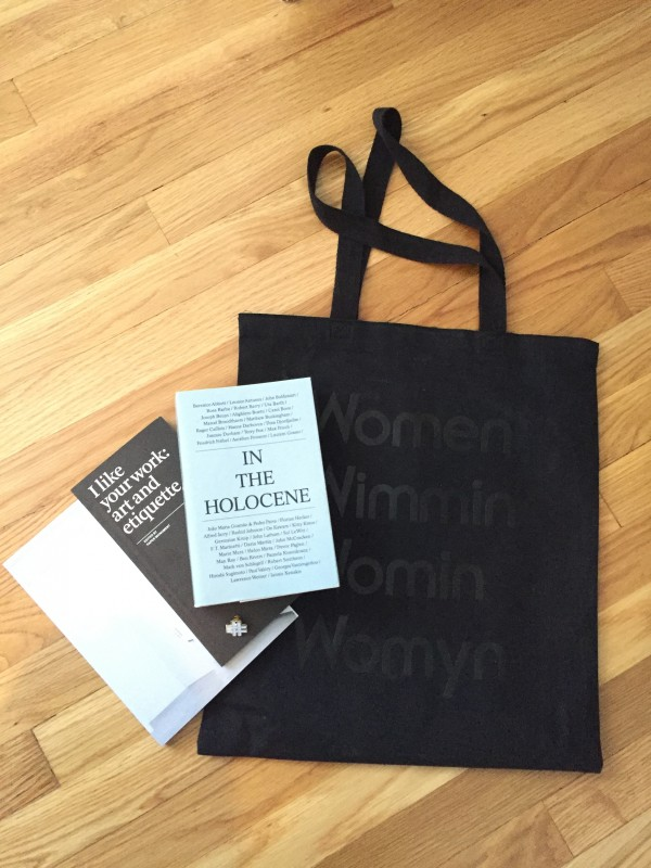 (left to right) I like your work: art and etiquette (2009) by Paper Monument, In the Holocene (2015) by Sternberg Press, tote from OtherWild. Photo credit: Royal NoneSuch Gallery