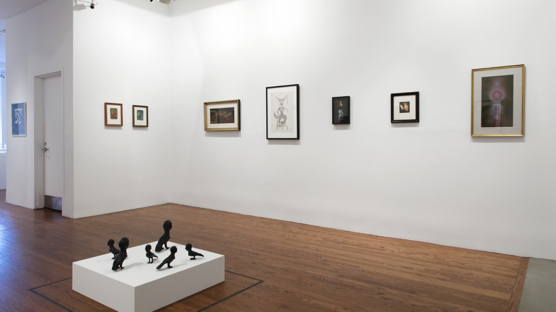 Installation view of Language and the Birds: Occult and Art at 80WSE Gallery, New York University, January 12 – February 13, 2016. In foreground, Kiki Smith, Sirens, 2007. Photo credit: Jean Vong for 80WSE Gallery