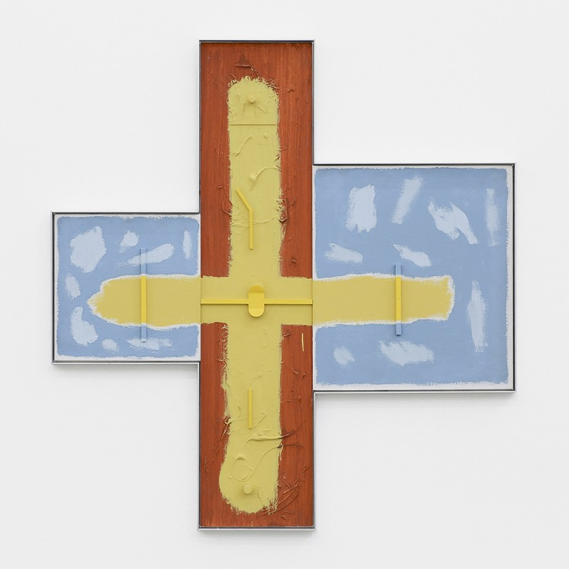 Noam Rappaport, HUB, 2015. Acrylic, canvas, wood, aluminum, 39 ½ x 37 ½ inches