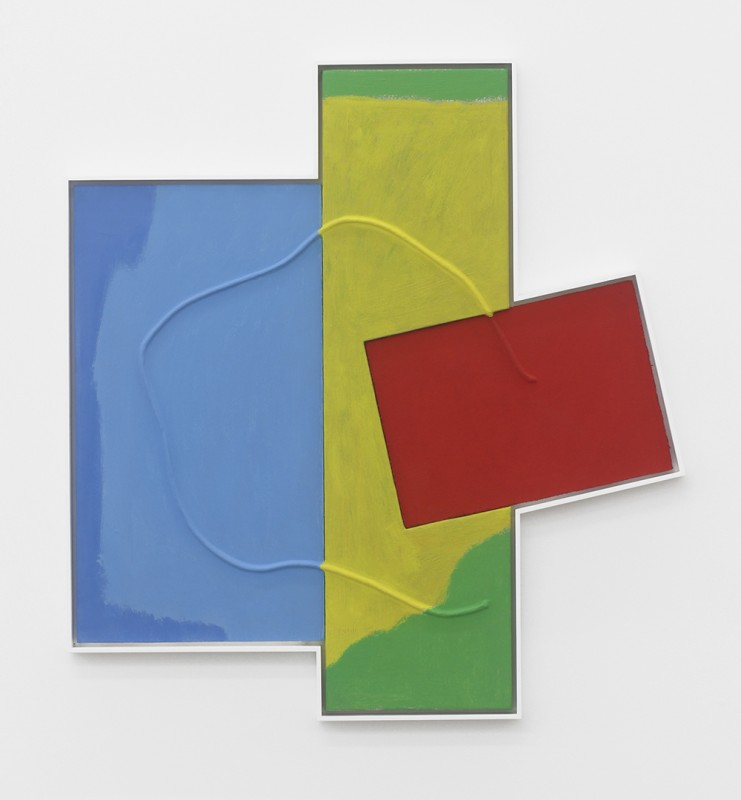 Noam Rappaport, Double Mend, 2015. Acrylic, canvas, cotton cord, wood, 37 ½ x 35 inches. Courtesy of Ratio 3.