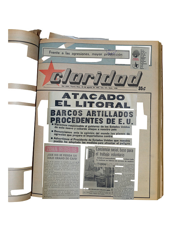 Virginia Colwell, Newspaper for a Puerto Rico Libre, 26 of August 1980, 2016. Digital print, 92.5 cm x 71.5 cm. Courtesy of Marso Galería