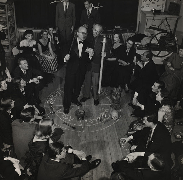 "Bernard Hoffman, ""Kurt Seligmann and Enrico Donati in a 'Magic Circle'"" 1948, gelatin silver print of ""Magic Evening"" (Soirée Seligmann). Courtesy Seligmann Center at the Orange County Citizens Foundation."