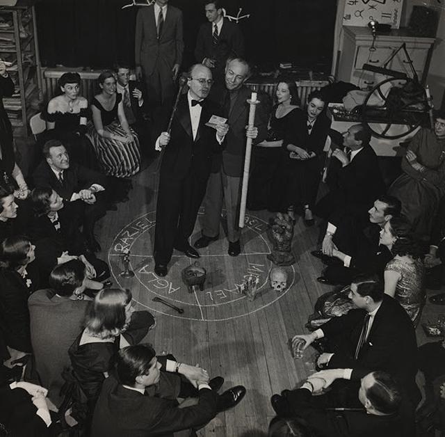 "Bernard Hoffman, ""Kurt Seligmann and Enrico Donati in a 'Magic Circle'"" 1948, gelatin silver print of ""Magic Evening"" (Soirée Seligmann). Courtesy Seligmann Center at the Orange County Citizens Foundation."