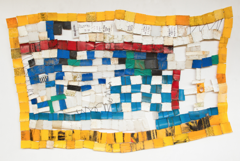 Serge Attukwei Clottey American Lottery, 2015 Plastic, wire and oil paint 51 x 94 in