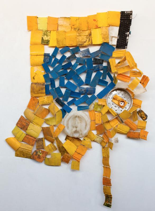 """Serge Attukwei Clottey, """"Retrospective"""", 2015. Plastic and wire. 52 x 63 inches"""