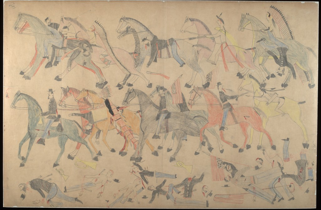 Red Horse (Minneconjou Lakota Sioux, 1822-1907), Untitled from the Red Horse Pictographic Account of the Battle of the Little Bighorn, 1881. Graphite, colored pencil, and ink. NAA MS 2367A_08569200. National Anthropological Archives, Smithsonian Institution