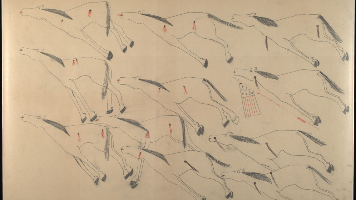 Red Horse (Minneconjou Lakota Sioux, 1822-1907), Untitled from the Red Horse Pictographic Account of the Battle of the Little Bighorn, 1881. Graphite, colored pencil, and ink. NAA MS 2367A_08569900. National Anthropological Archives, Smithsonian Institution