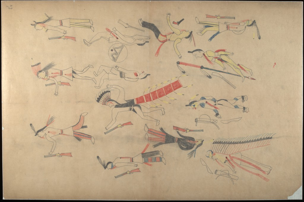 Red Horse (Minneconjou Lakota Sioux, 1822-1907), Untitled from the Red Horse Pictographic Account of the Battle of the Little Bighorn, 1881. Graphite, colored pencil, and ink. NAA MS 2367A_08570200. National Anthropological Archives, Smithsonian Institution