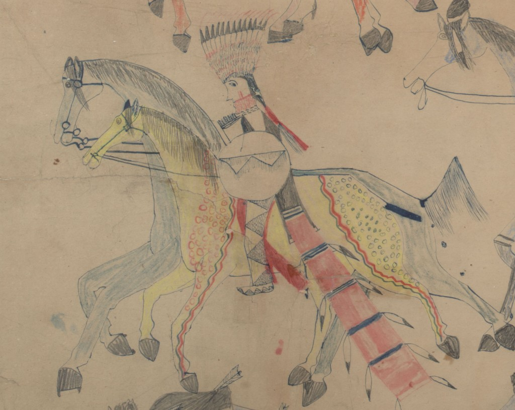 Red Horse (Minneconjou Lakota Sioux, 1822-1907), Untitled from the Red Horse Pictographic Account of the Battle of the Little Bighorn (detail), 1881. Graphite, colored pencil, and ink. NAA MS 2367A, 08570700 National Anthropological Archives, Smithsonian Institution