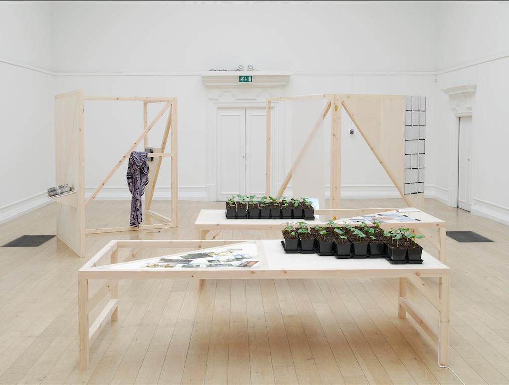Installation view, Kinjiketile Suite, Kapwani Kiwanga at South London Gallery, London, 2015. Photograph by Andy Keate. Courtesy of the artist and Galerie Jérôme Poggi.