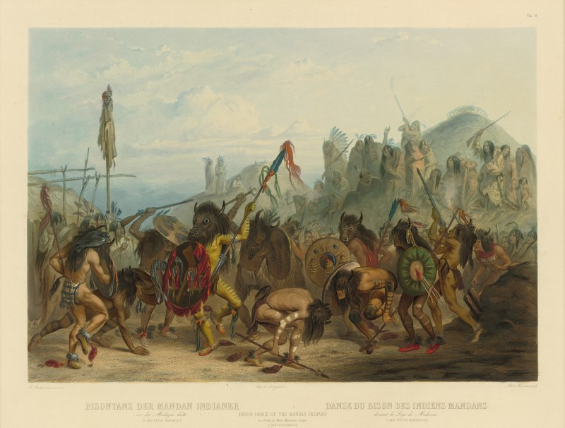 Karl Bodmer. Bison Dance of the Mandans, hand-colored aquatint. Courtesy the Internet.