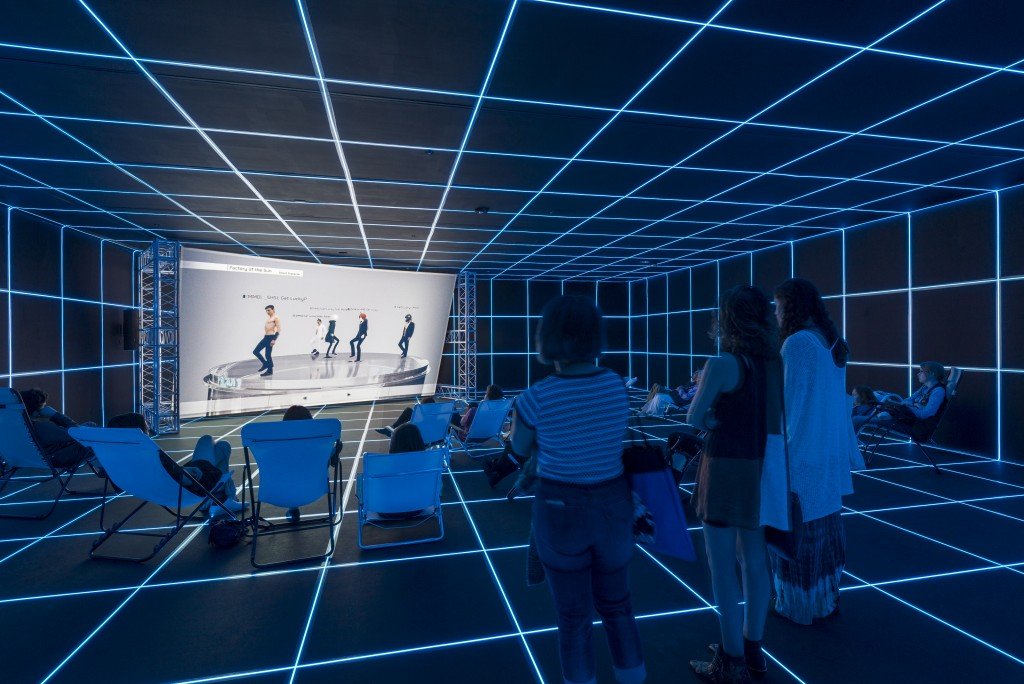 Installation view, Hito Steyerl: Factory of the Sun, on view February 21 – September 12, 2016 at MOCA Grand Avenue, Los Angeles. Photograph by Justin Lubliner. Courtesy of The Museum of Contemporary Art, Los Angeles.
