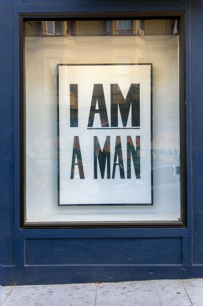 Hank Willis Thomas. I am a Man, 2013. Liquitex on canvas, 72 x 48 inches. Photo by Jeff Warrin. Courtesy of the artist and Kadist Art Foundation.