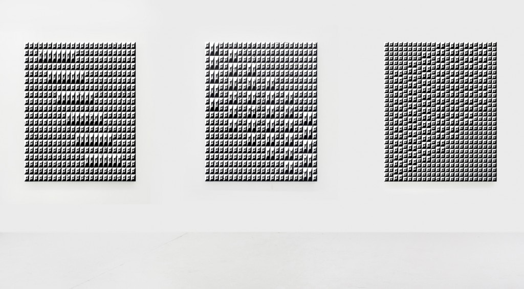 Matt Mignanelli, (from left to right), Untitled (Disruption V), 2016, Untitled (Disruption IV), 2016, Symphony, 2015. Gloss enamel and acrylic on canvas, 60 x 48 inches (152 x 122 cm) each. Courtesy the artist.