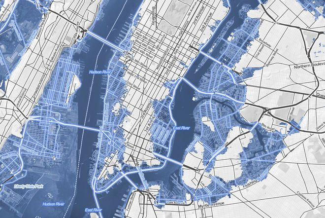 New York with a 10 foot rise in sea level. Visualizations by Stamen Design in collaboration with Climate Central and New American Media.