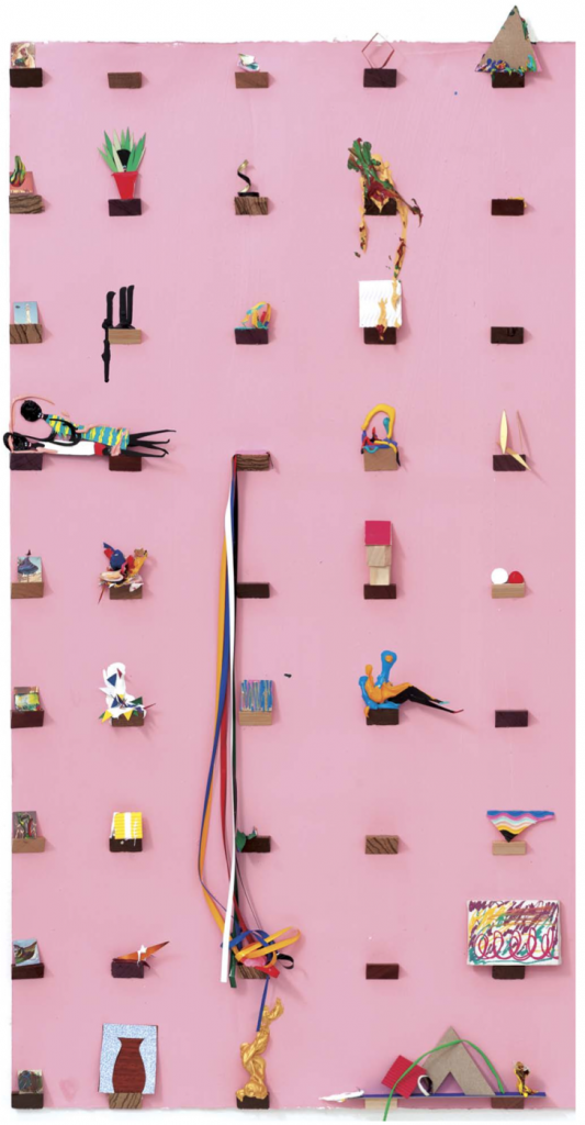 """Contemporary African Compositional Arrangements, """"Guuuuuuurl you need to consider the gestalt of perceptual organization"""" (detail), 2012. Acrylic, enamel, wood and construction paper on paper, 45 x 30 inches. SFAQ[Projects] Pullout Poster, Issue 23."""