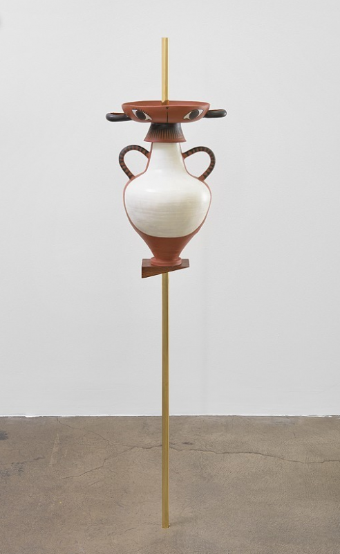Cammie Staros, Leda, 2014. Brass and ceramic, 12.5 x 10 x 52 inches. Courtesy of Royal NoneSuch Gallery.