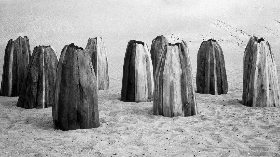 Ursula von Rydingsvard, Untitled (Nine Cones), 1976. Cedar, 3 feet 6 inches x 15 feet. Installation view, Battery Park City Landfill, New York, 1977. Courtesy of Hauser & Wirth, Galerie Lelong, and Hauser Wirth & Schimmel.