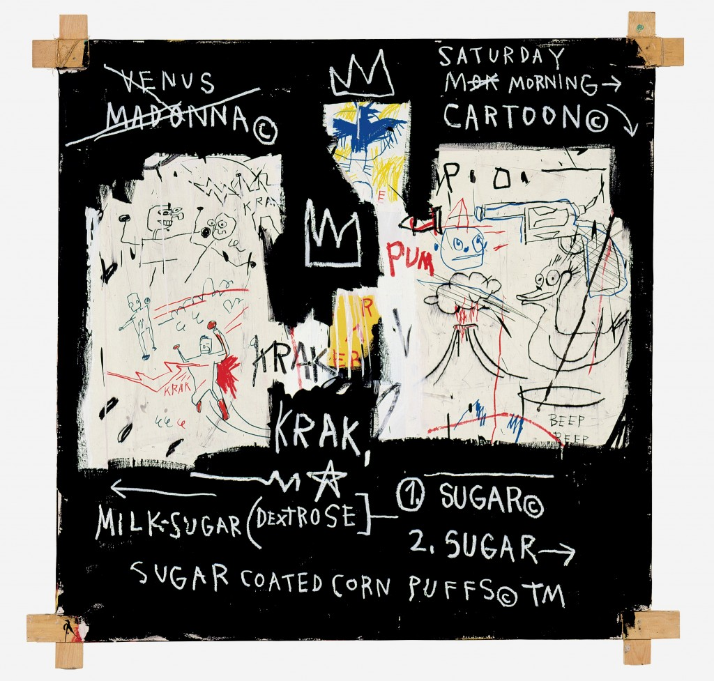 Jean-Michel Basquiat, A Panel of Experts, 1982, acrylic and oil pastel on canvas, 152 x 152.5cm, Montreal Museum of Fine Arts, Gift of Ira Young