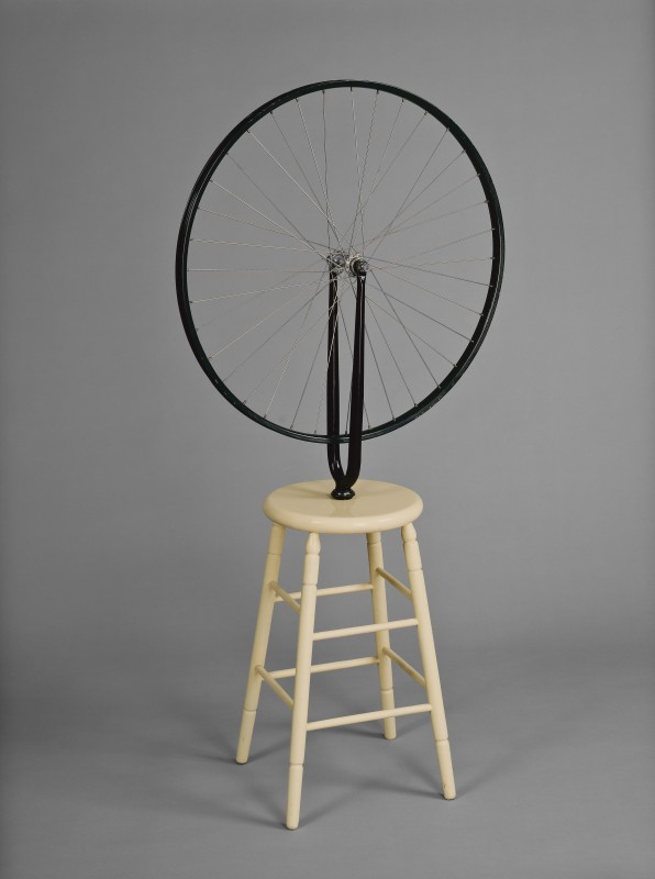 Marcel Duchamp, Bicycle Wheel, 1913 (6th version 1964). Bicycle fork with wheel mounted on painted wooden stool, 126 x 64 x 31.5 cm, National Gallery of Canada, Ottawa, purchased 1971