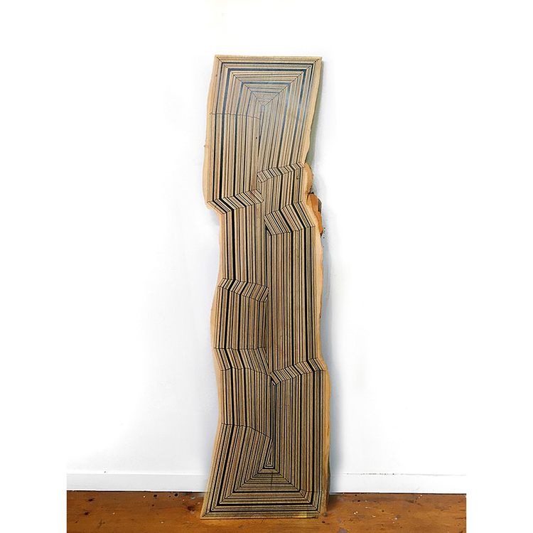 Rocks and Trees Playing Tag, 2016. Spray paint on maple, 92 x 22 x 1 inches. Courtesy of Gallery 16.