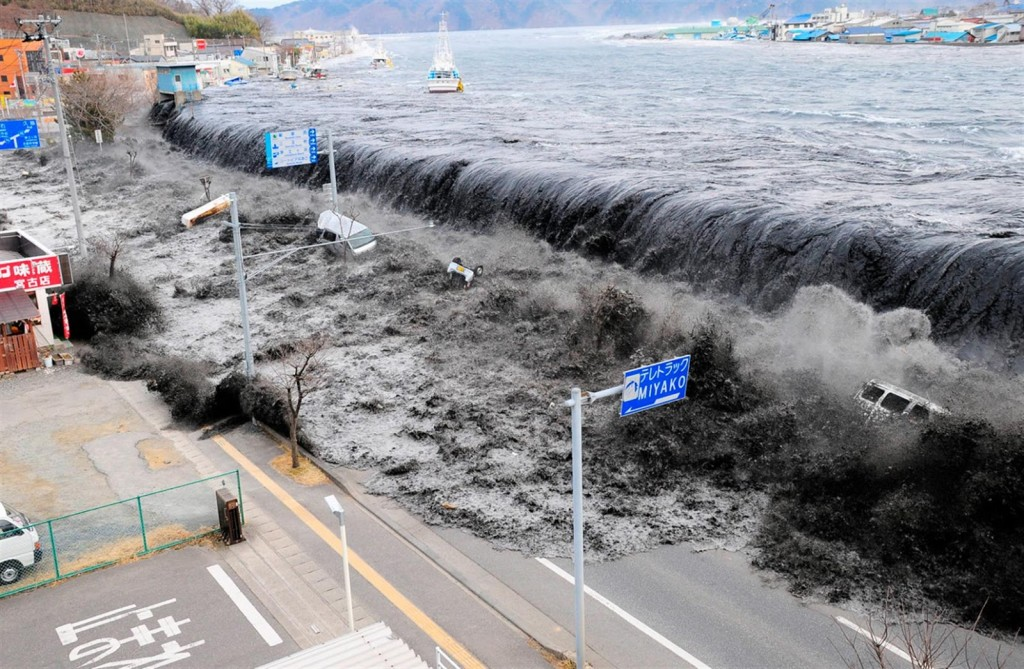 The city of Miyako from the Heigawa estuary in Iwate Prefecture after a 8.9 earthquake struck the area in March 11, 2011. Courtesy of the Internet.