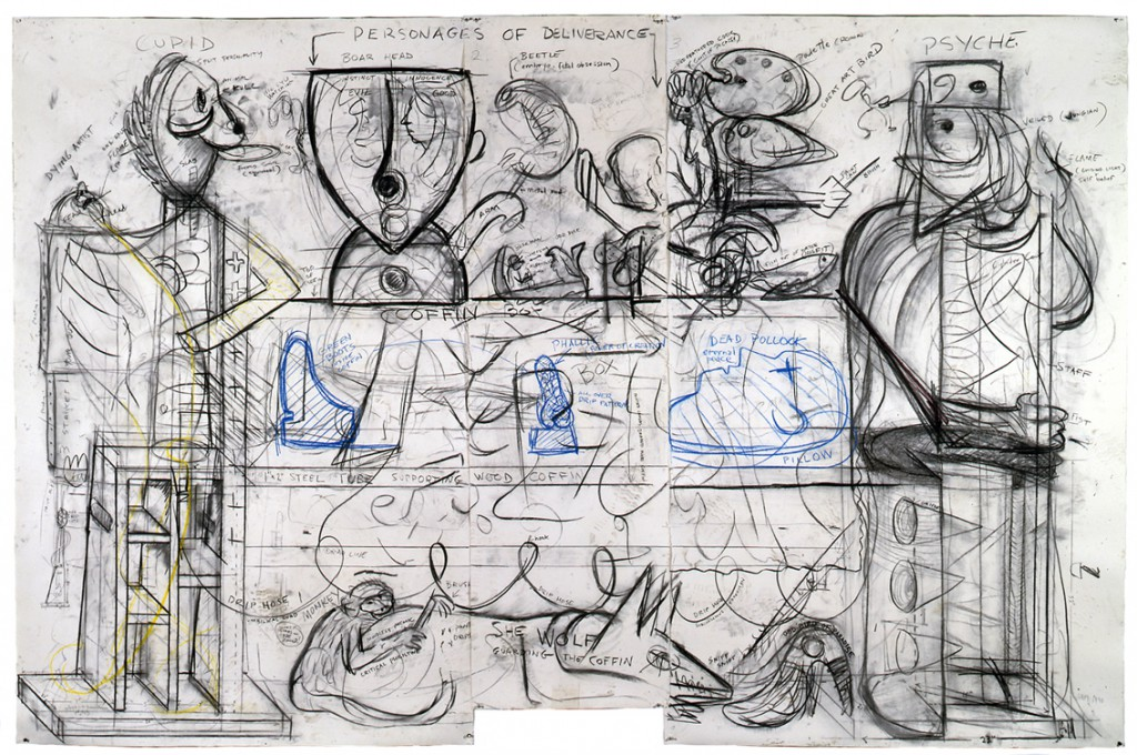 Robert Arneson, Working drawing for Guardians of the Secret II, 1990. Charcoal, oil stick on paper, 84 x 128 3/8 inches.