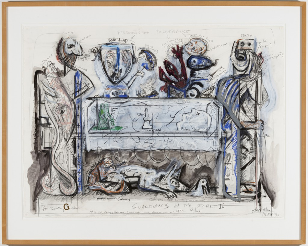 Robert Arneson, Study for Guardians of the Secret II, 1990. Mixed media on paper, 30 x 44 inches; 38 1/4 x 52 1/8 inches framed