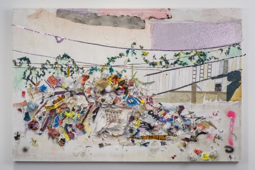Tameka Jenean Norris, Pass Rd #2, 2015. Found fabric, human hair, found objects on wood panel, 40 x 60 inches. Courtesy of Rena Bransten Gallery.