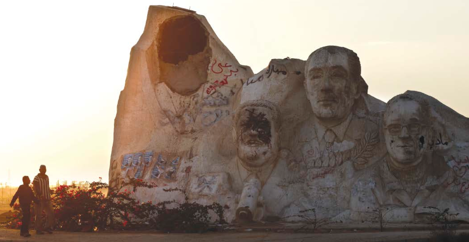 A giant statue of former Egyptian President Hosni Mubarak (left) on the outskirts of Cairo, Egypt. Also depicted; Egyptian Nobel prize winner Ahmed Zewail, the late Egyptian President Anwar Sadat and Egyptian novelist and Nobel Prize Winner Naguib Mahfouz. Courtesy of the Internet.