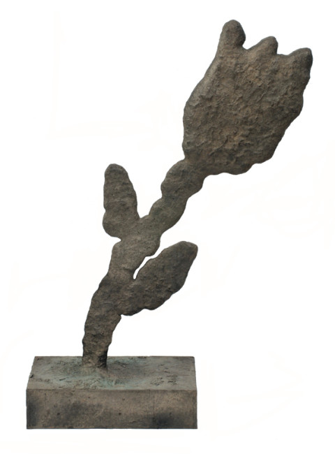 Donald Baechler, Single Flower, 2008. Bronze, 42 x 27 x 3 inches. Courtesy of Eric Firestone Gallery.
