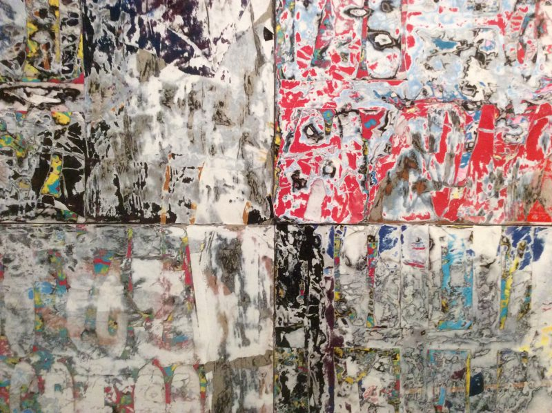 Mark Bradford, Thievery by Servants (detail), 2013. Mixed-media collage on wood. (Photo: John Held, Jr.)